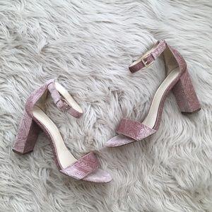 Nine West Pink Paisley Velvet Heels